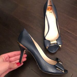 Louise Et Cie Navy And Gold Bow Pumps
